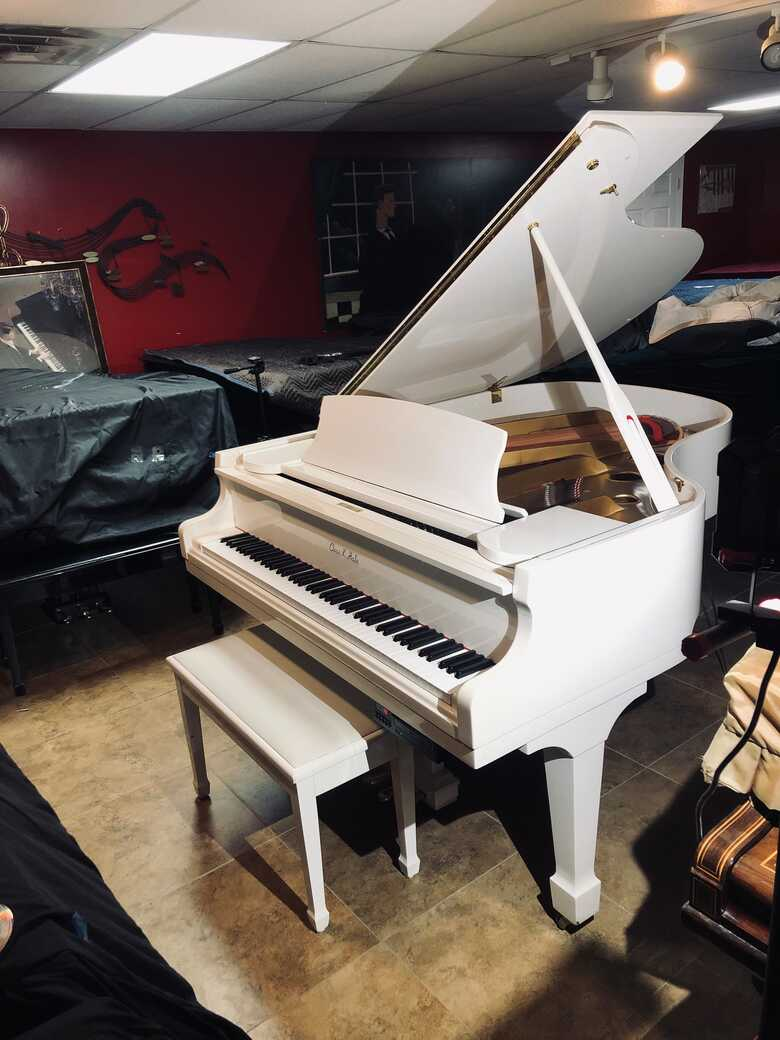 """Chas K Hale 5'7"""" White Grand Piano 1988 with QRS Player CD"""