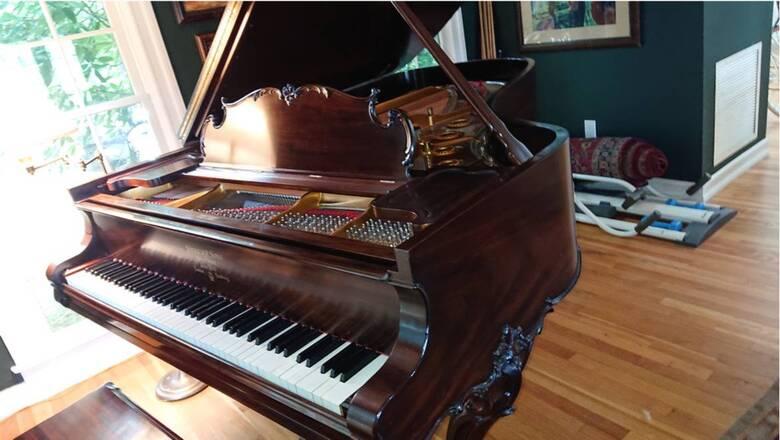 Steinway Antique Louis XV Mahogany Grand Piano w/ bench