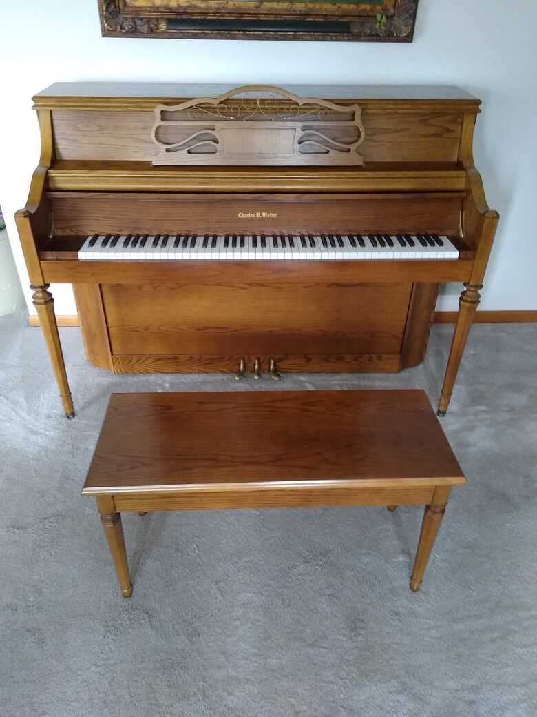 Charles R Walter Traditional Walnut Console Piano