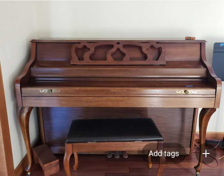 """41"""" Upright walnut finish in excellent condition."""