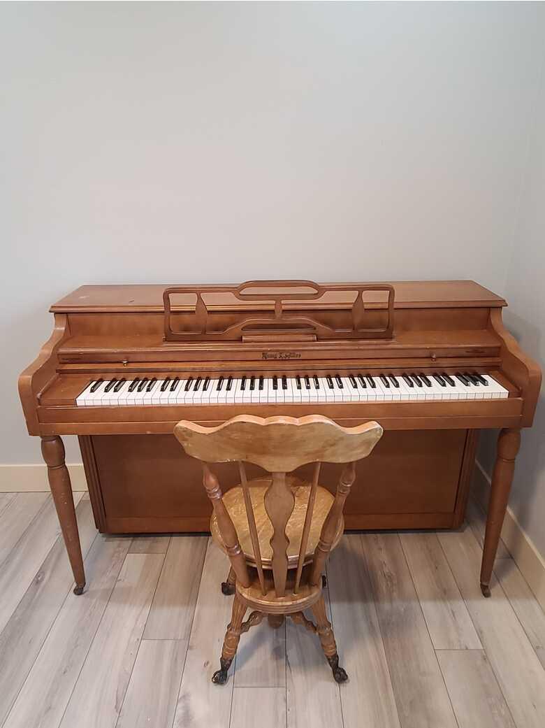 Henry F. Miller Walnut Upright Spinet Piano