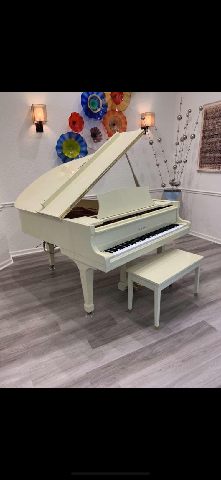 Mint ivory Kawai with PianoDisc player system