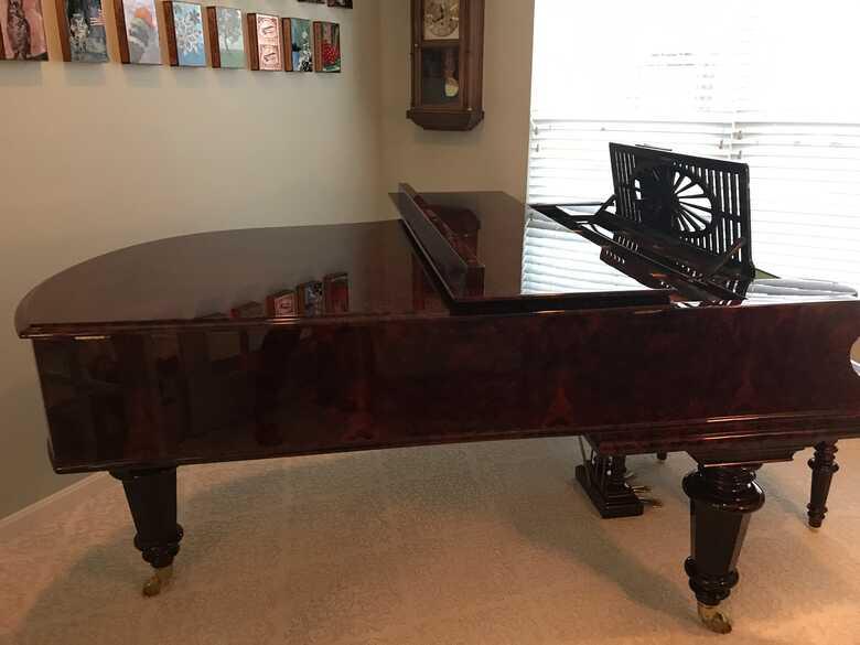Beautiful rare burled walnut 1898 BECKSTEIN piano