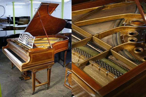Bechstein Model B grand piano with an inlaid, mahogany case