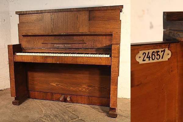 Gerhard Adams upright piano with a Modernist, Oak Case
