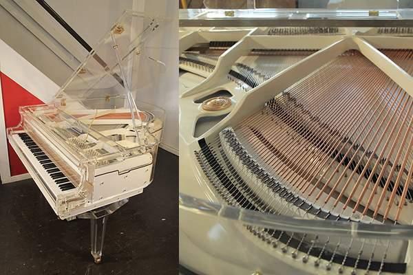 Transparent, acrylic Steinhoven piano PianoDisc iQ system