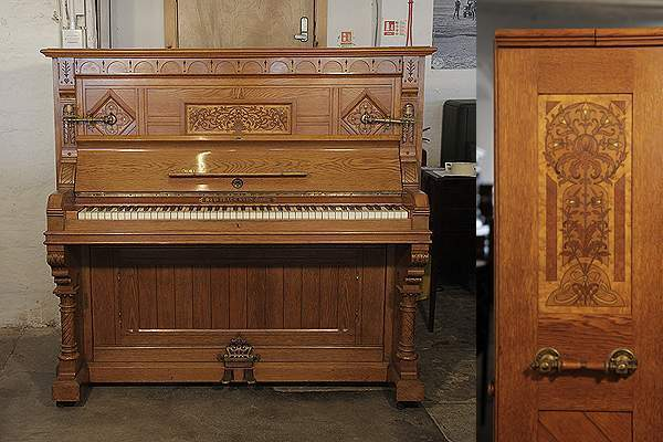 English Gothic style, Ibach upright piano in carved, oak