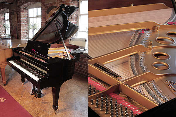 Rebuilt, 1914, Steinway Model O grand piano in black