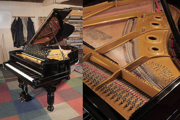 An 1880, Steinway Model A grand piano with a black case