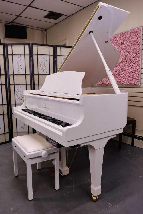 White Gloss Story & Clark Baby Grand CD Player Piano