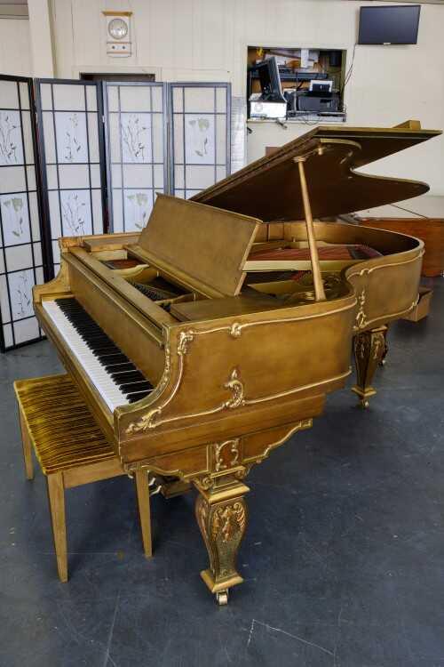 """Gold Piano"" Hardman Grand 5'8"" Shabby Chic Louis XVI(VIDEO)"