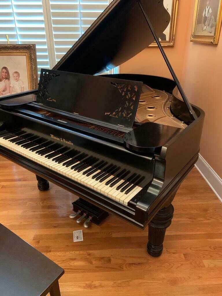 Great Mason & Hamlin model AA grand piano & Steinway chair