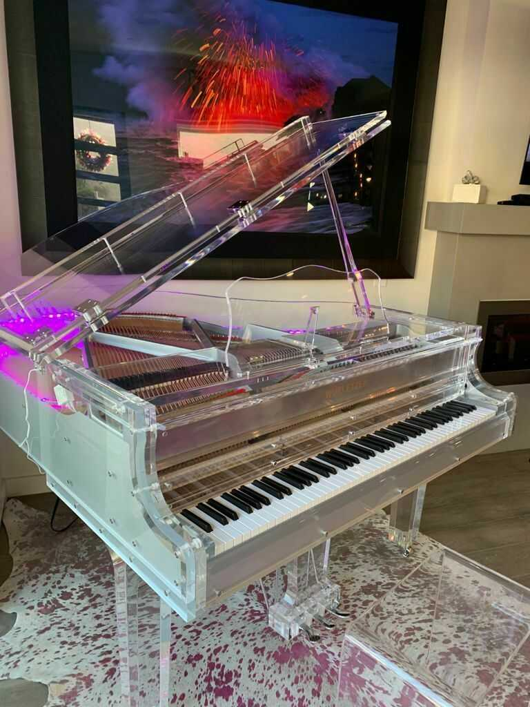 Luxurious LED Crystal Grand Piano transparent Crystal Grand